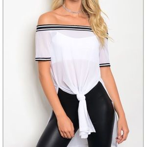 moreforless Tops - Mesh Off Shoulder Long Tee